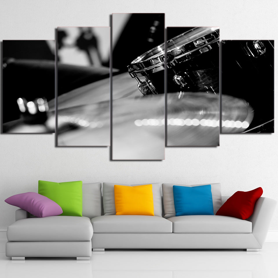 HD Printed 5 Piece Canvas Art Black White Drum Painting Music Instrument Wall Pictures