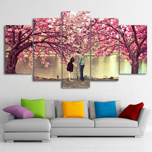 HD Printed 5 Pieces Pink Blossom Canvas Paintings Flowers Framed Modular Wall Pictures