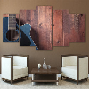HD Printed 5 Piece Canvas Art Classical Wooden Guitar Painting Wall Pictures