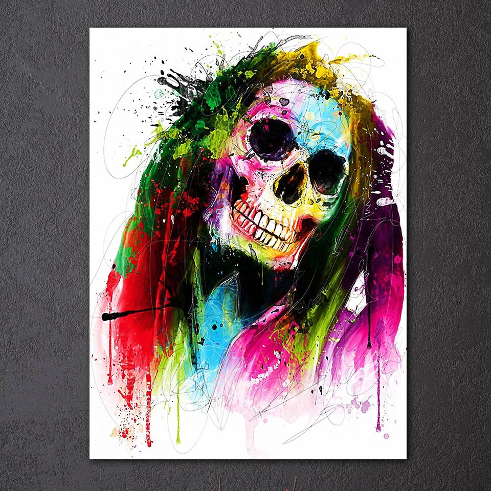 1 Pieces Canvas Paintings Printed Art Color Skull Abstract Painting Wall Picture