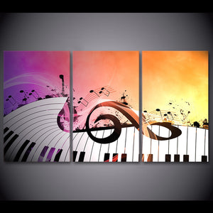 HD Printed 3 Piece Canvas Art Piano Keys Painting Music Character Wall Pictures Living Room Decoration