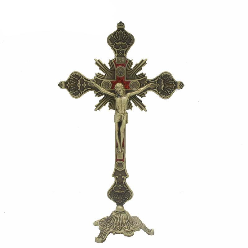 Antique Bronze Metal Jesus Christ Spiritual Byzantine Standing Crucifix Catholic Cross INRI Religious