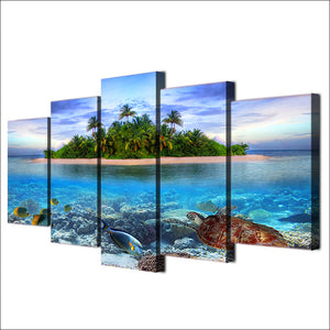 Canvas Paintings Wall Art 5 Pieces Marine Life Tropical Island Pictures HD Prints Sea Turtle Fish Palm Trees Posters