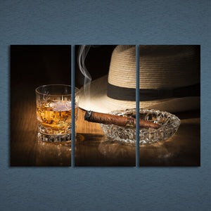 3 Panels Canvas Art Alcohol Ciger Hat Silence Home Decor Wall Art Painting Canvas Prints Pictures Living Room Poster