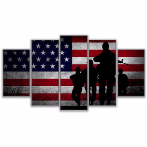 Canvas Painting Wall Art Pictures 5 Pieces Flag soldier Poster HD Printed