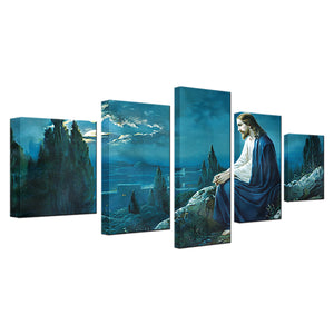 Canvas Pictures HD Prints Poster 5 Pieces Prayer Jesus Gethsemane Garden Printings Wall Art