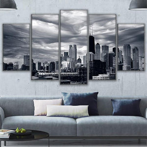 Wall Art Canvas Painting Landscape Modular Prints Pictures 5 Piece Cloudy Black White Chicago Cityscape Poster