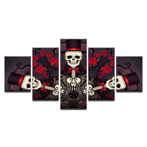 Canvas Poster HD Prints Painting 5 Pieces Skull Gentleman And Roses Pictures Halloween Wall Art