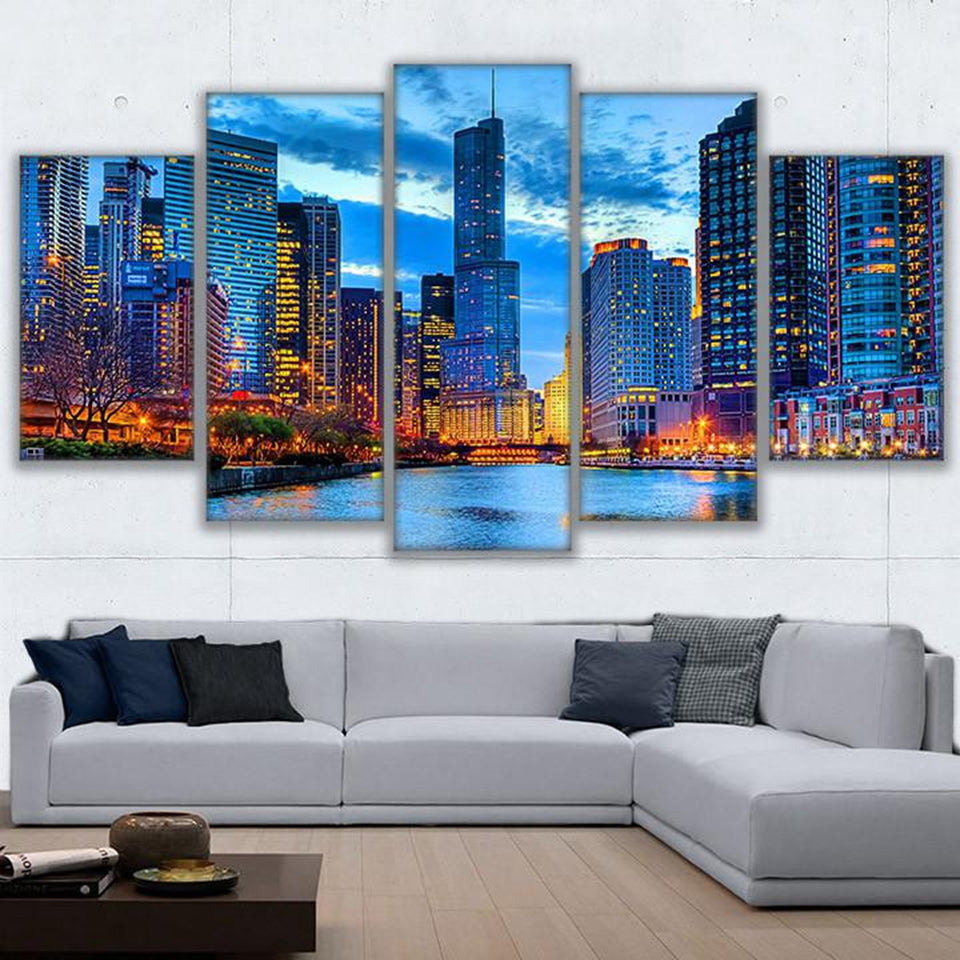 Canvas Wall Art Pictures 5 Pieces Chicago City Night View Paintings HD Prints Beautiful River City Building Posters