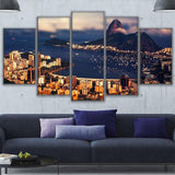 Canvas Wall Art Pictures 5 Pieces Rio De Janeiro Mountain View Of The Atlantic Ocean Painting Prints Poster
