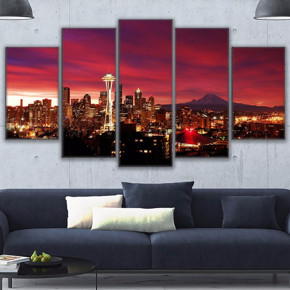 Canvas Prints Painting Modular Wall Art Tower Poster 5 Pieces Overhead Night Sky Seattle Cityscape Pictures