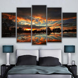Canvas Prints Painting Pictures 5 Piece Dark Sunset Reflection In The Lake Landscape Poster