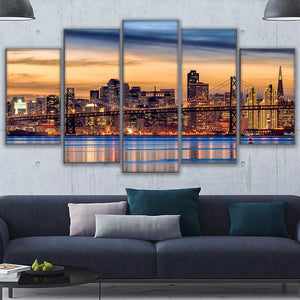 Canvas Wall Art Pictures Prints Posters 5 Pieces San Francisco Twilight Bridge Sunset Paintings