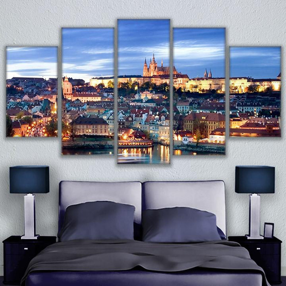 Modular Canvas Paintings 5 Pieces Overlooking Prague Landscape Pictures Castle Poster