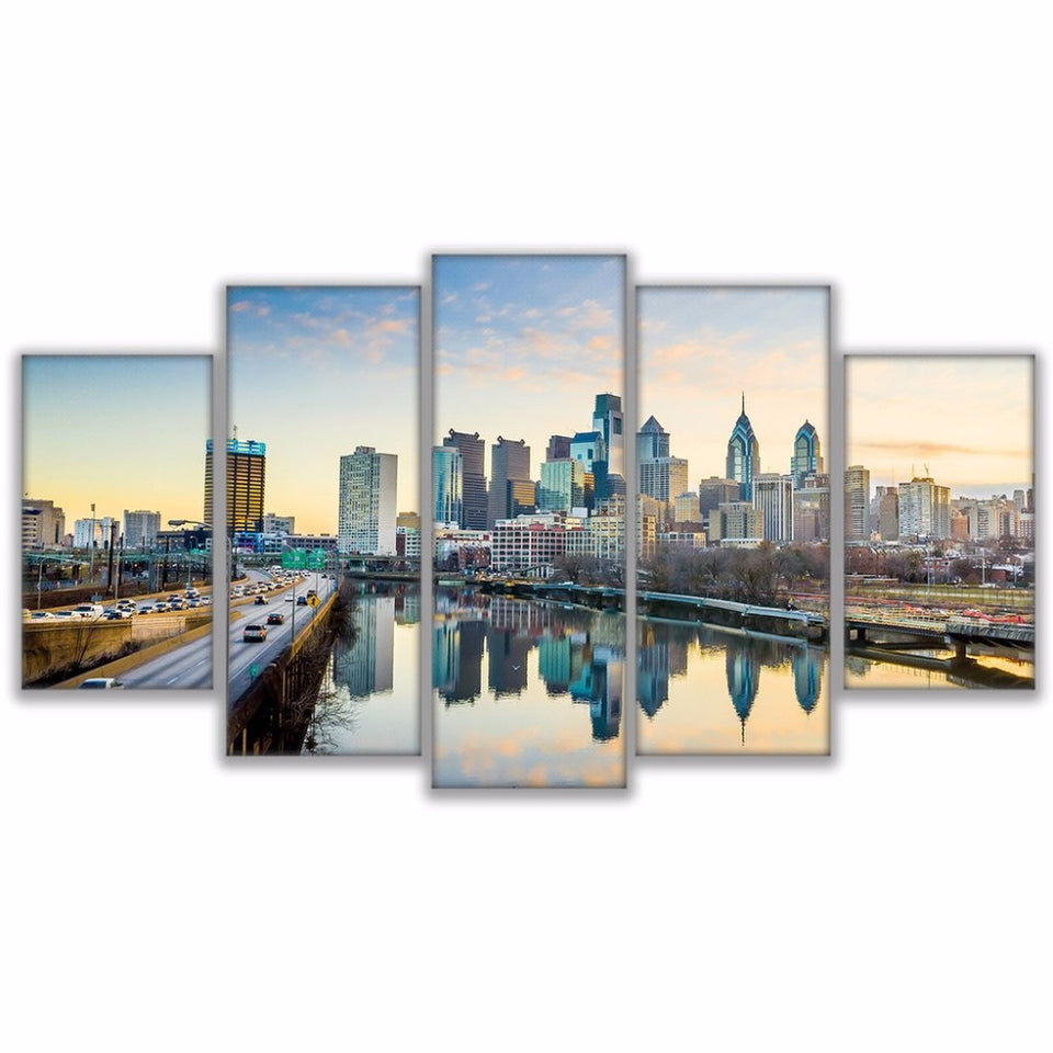 Modular Pictures HD Prints Poster 5 Piece Philadelphia Riverfront Landscape Canvas Painting Decor
