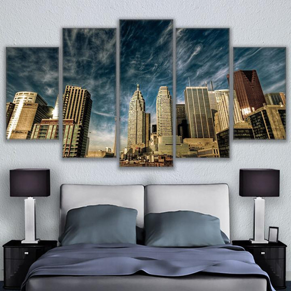 Canvas Poster Wall Art 5 Pieces Toronto Blue Sky Skyline Paintings HD Prints City Building Pictures