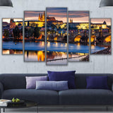 Wall Art Pictures HD Prints Canvas 5 Pieces Prague Bridge Painting City Night Scene Poster