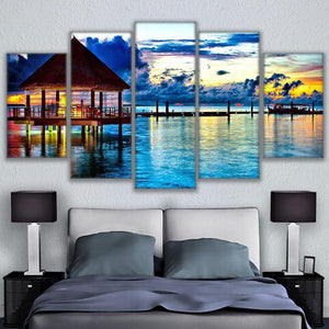 Canvas HD Prints Pictures 5 Pieces Tropical Water Bungalows Painting Beach Paradise Poster Wall Art