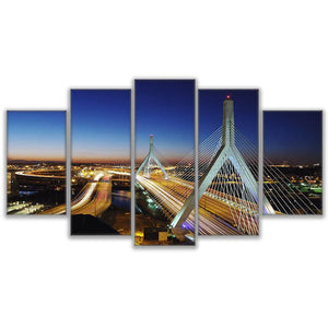 Modern Wall Art Canvas HD Prints Painting Modular Poster 5 Pieces Boston City Flow Bridge Nightscape Pictures