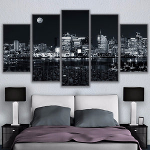 Canvas Wall Art Pictures 5 Pieces Los Angeles Nightlife Poster Modern City Nightscape Painting
