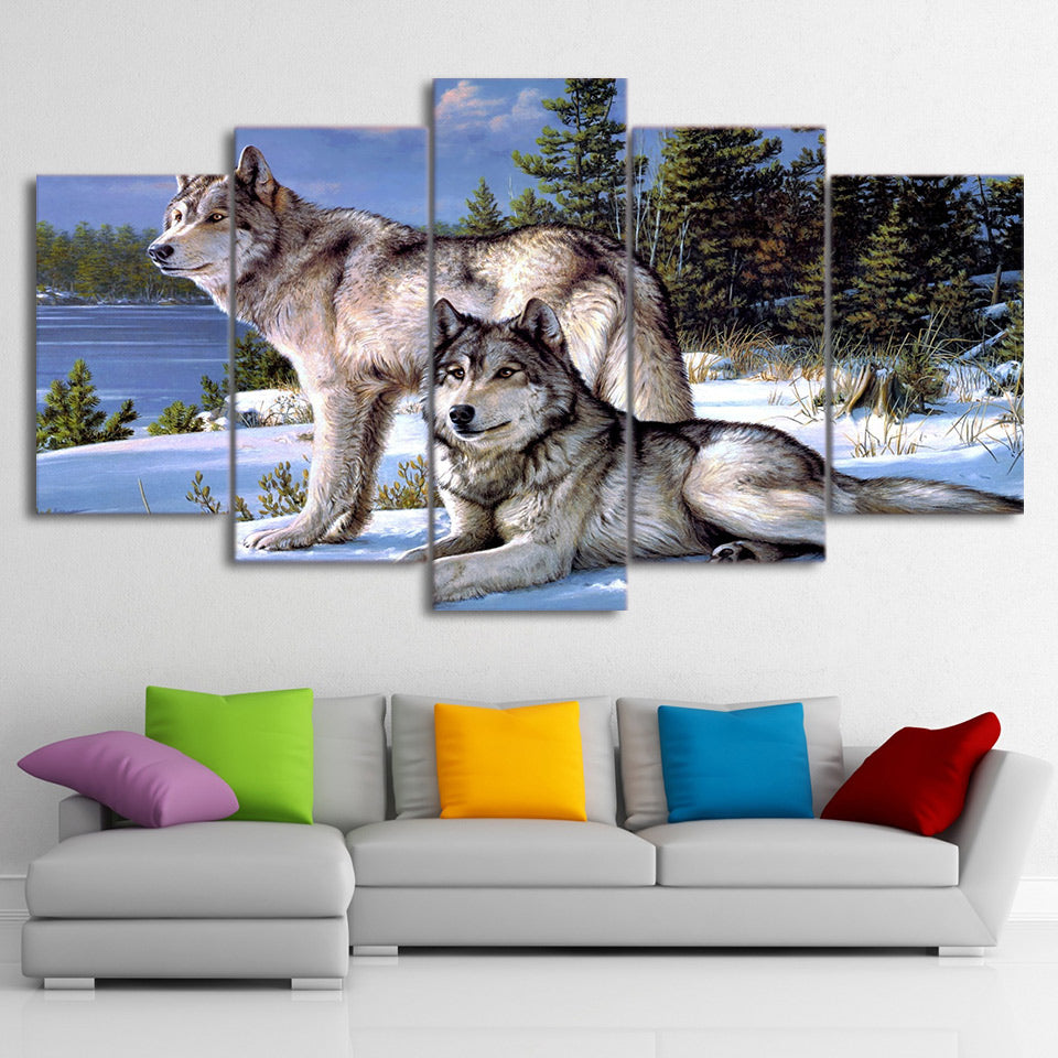 Modular Wall Art Canvas Paintings 5 Pieces Wolfs In The Snow Winter Pictures Animal Posters