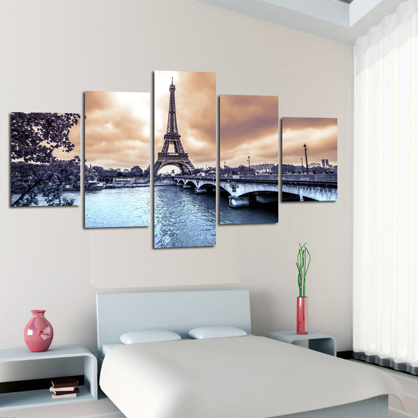 Canvas Painting Wall Poster 5 Panel Eiffel Tower European Cities Construction Landscape Pictures Printed