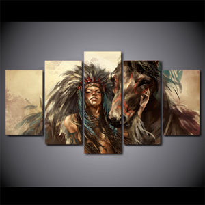 HD printed 5 piece Canvas Art American Indian Girl Painting Horse Wall Pictures