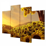 4 Panel Art Wall Gold Sunflower Canvas Painting Picture HD Print On Canvas