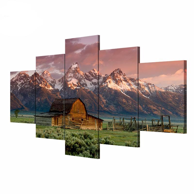 5 Panel Wyoming Landscape Pictures Prints on Canvas Paintings 5 Pieces
