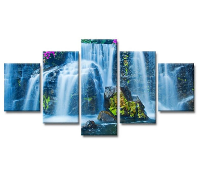 5 Pieces of Canvas Art Flower Waterfall Landscape Picture HD Print on Canvas