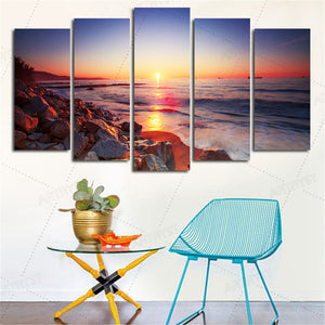 5 Pcs Canvas Art Flowers Wall Pictures Mountain Art Mountain Painting Calligraphy Panel Paint