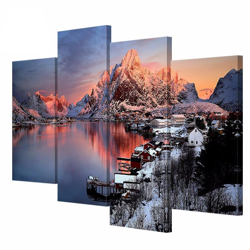 4 pcs Scenery Canvas Painting Beautiful Scenery Pictures Printed on Canvas