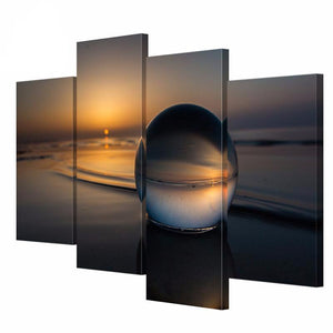 4 Panel Art Wall Water Droplets Sun Landscape Canvas Painting HD Printed on Canvas