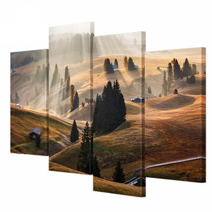 4 Pieces Landscape Canvas Painting Alpine Tree Sun Picture HD Print Canvas