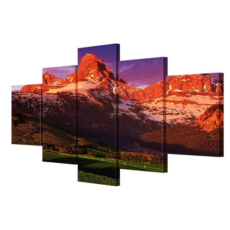 5 pcs American Wyoming Landscape Canvas Painting Picture HD Print