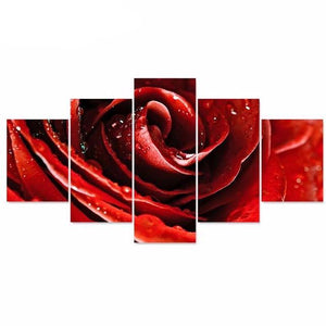 Canvas Painting Rose Flower Picture and Poster HD Print 5 Piece Canvas