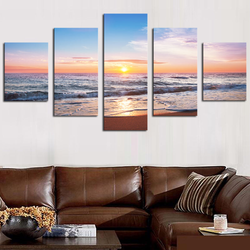 5 pcs Beautiful Sea Sunset Landscape Modern Canvas Painting Digital HD Sea View Oil Painting