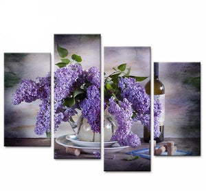4 Pcs of Abstraction Art Wall Wisteria Still Life Canvas Painting Picture HD Print on Canvas