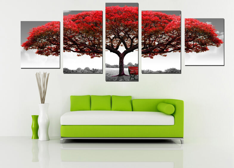 5 Pieces Canvas Painting Multi Combination Red Tree Big Like Safe Guardian Art Painting Printed