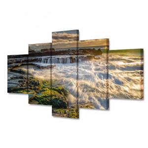 5 Canvas Art Modular Poster Sunset Waterfall Waves Landscape Pictures HD Print