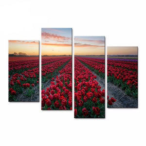 4 Pieces of Modern Flowers Canvas Painting Red Tulip Picture HD Printing on Canvas