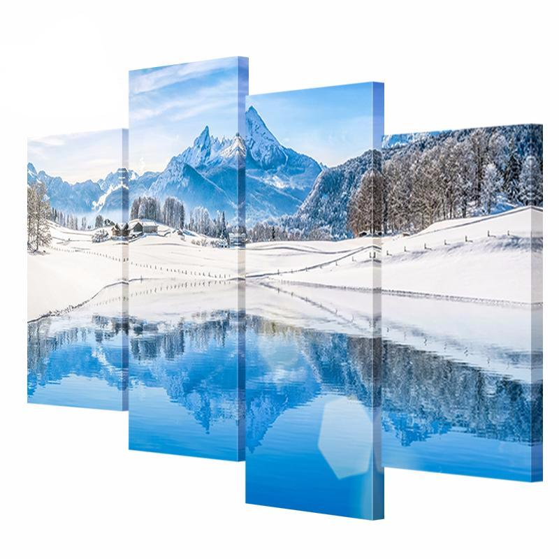 4 Panel Mountain Lake Water Snow Scenery Canvas Painting Picture HD Printing on Canvas