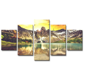 HD Print 5 pieces of Modular Canvas Art Poster Painting Ancient Sun Building on Canvas