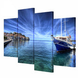 4 Panel Modular Seaside Boat Architecture Landscape Poster HD Print on Canvas