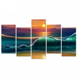 HD Print 5 Pieces Canvas Sea Painting Wall Art Modular Wall Paintings