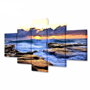 HD Print 5 Pieces Canvas Art Poster Painting Sunset Seawater Rock Landscape Print on Canvas