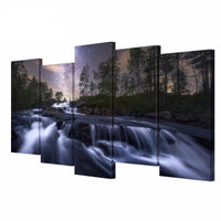 River Landscape Night Sky 5 Canvas Art Print on Canvas HD
