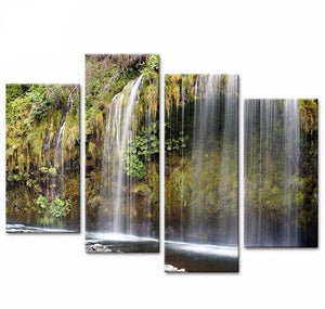 4 Panel Modular Beautiful Waterfall Landscape Canvas Painting Picture HD Printing