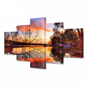5 Panel Modular Canvas Art Sunset Tree Water Landscape Poster HD Print on Canvas