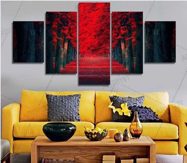 5 Pieces Mural Beautiful Red Forest Painting On Canvas Painting Tree Landscape Painting
